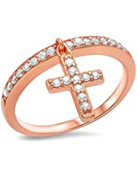 Accent Petite Dangling Cross Ring Round Cubic Zirconia Pink Rose Tone over Plated 925 Sterling Silver