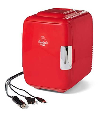 Cooluli Classic 4-liter Compact Cooler/Warmer Mini Fridge for Cars, Road Trips, Homes, Offices and Dorms (Glossy Red)