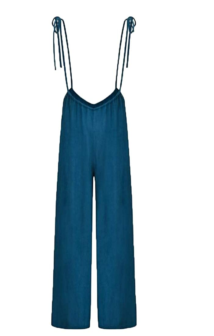 Keaac Women Overalls Jumpsuits Sleeveless Wide Leg Pants Rompers