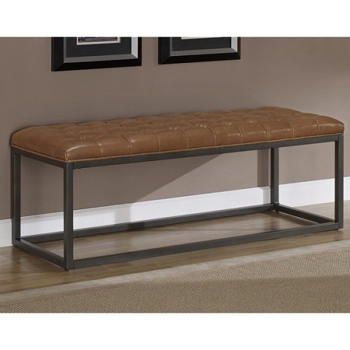 (Modern Button Tufted Healy Saddle Brown Bonded Leather and Metal Bench)