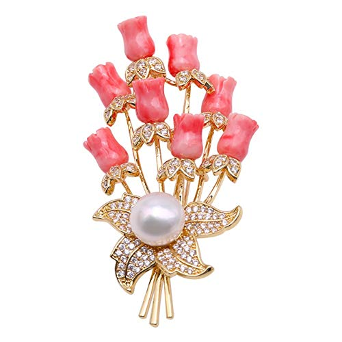 JYX Pearl Coral Brooch 10.5mm White Freshwater Cultured Pearl and Coral Brooch Pin Christmas Brooches