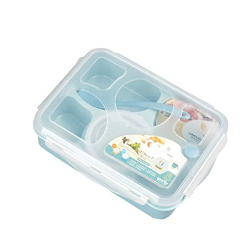 Aobiny Food Container, Five and a Convenient Box With a Spoon (Blue) by Aobiny