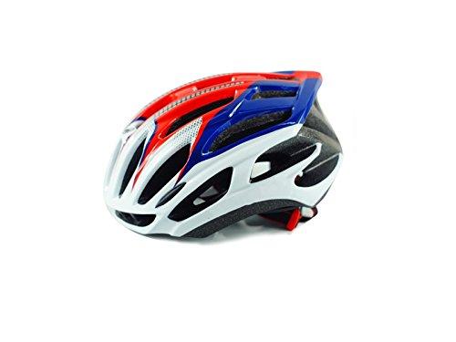 Yunqir Adult Adjustable Bike Helmet Porous Ventilation Helmet One-Piece Bicycle Helmet(Blue+White+Red) by Yunqir