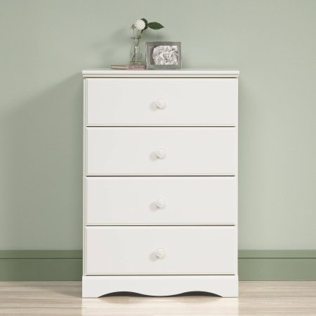 BLOSSOMZ Sauder Storybook 4-Drawer Chest, Soft White, Drawers with Metal Runners and Safety Stops (Soft White) ()