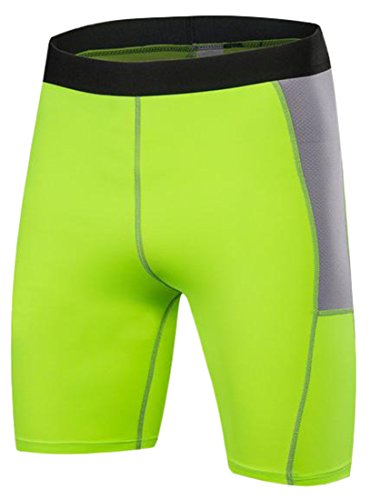 Fulok Men¡¯s Compression Short Leggings-Base Layer Tights for Workouts,Running,Sports,Cycling,Training,Weightlifting-All Weather Shorts Green Large