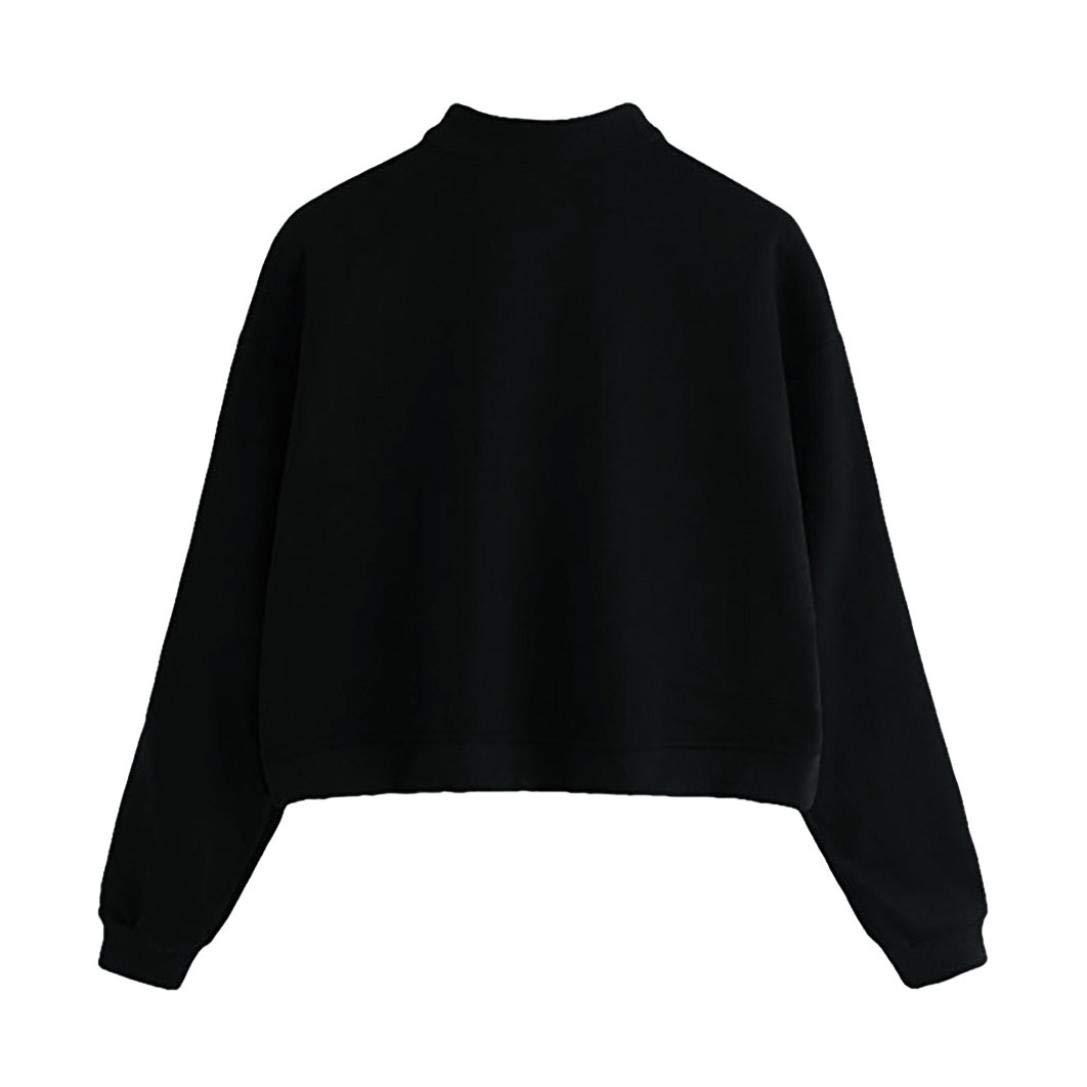 Vertily Blouse Long Sleeve Zipper Womens Striped Turtleneck Jumper Sweatshirt