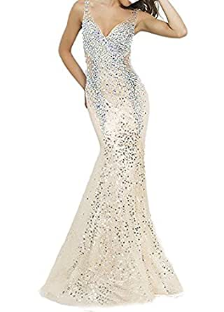 Women Dresses Illusion Back Open Sequins Beaded Double V-Neck Prom Dress Long Evening Party Gowns