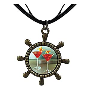 Chicforest Bronze Retro Style Tropical Martini Ship Steering Wheel Pendant