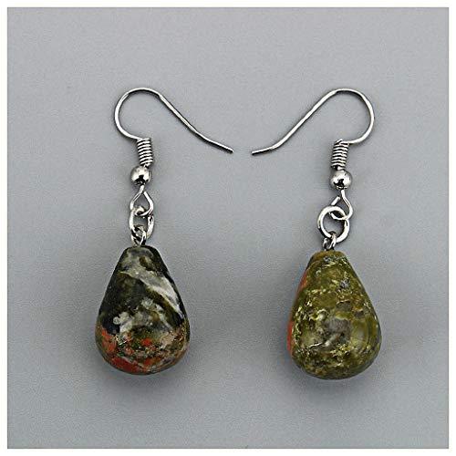 (Dawery Water Drop Natural Stone Dangle Earrings for Women Tiger Eye Clear Quartz Lapis Opal Obsidian Drop Cone Bead Hook Earrings Unakite)