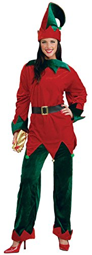 [Forum Novelties Unisex Plus-Size Deluxe Helper Santa Elf Costume, Multi, X-Large] (Lady Reaper Adult Plus Size Costumes)