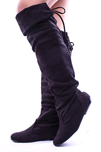 Pour Toujours Lien Faux Suède Sur Le Genou Pli À Plat Sur Les Bottes Chaussures Noir