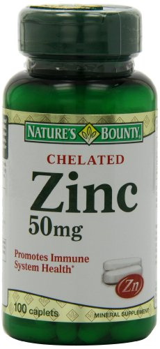 Bounty Chelated zinc (gluconate de zinc) de 50 mg de Nature, 100 Caplets (pack de 4)