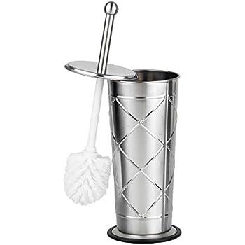 Home Basics Sleek Stainless Steel Criss Cross Toilet Brush Holder, Silver