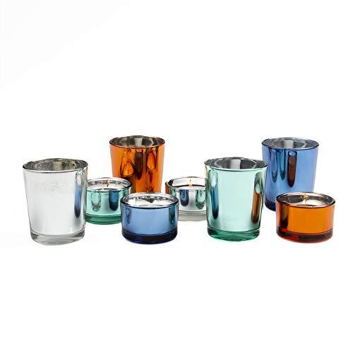 Premium Set of 24 Mixed Color Votive Candle Holder Ideal for Weddings, Parties, Special Events, Wholesale Bulk Pack Cobalt Blue Votive Candle