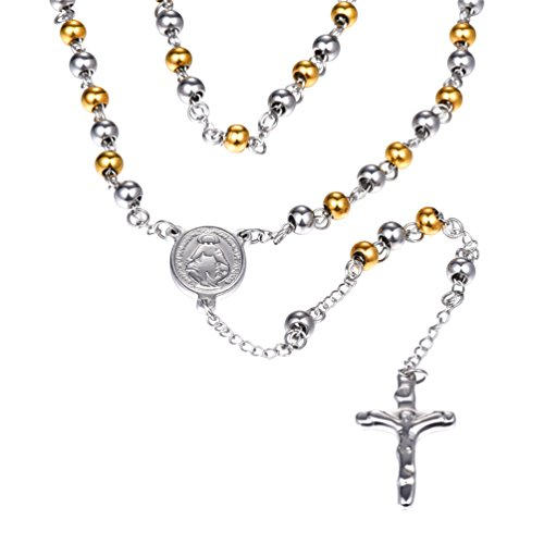 U7 Bless Rosary Beads Necklace Titanium Stainless Steel 18K Gold Plated Miraculous Medal & Crucifix Charm Catholic Jewelry