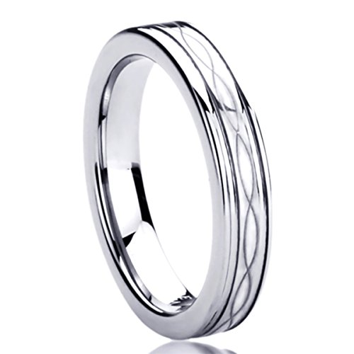4MM Titanium Womens Rings Laser Etched Infinity Patterned Comfort Fit Wedding Bands SZ: 6