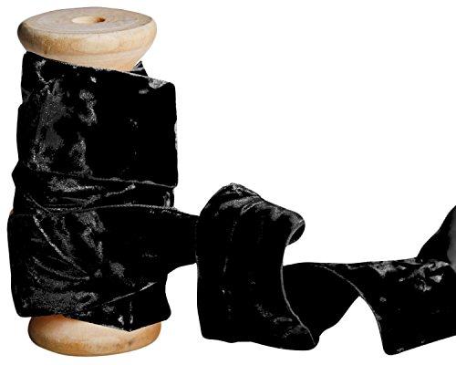 Laribbons 1 Inch Crushed Velvet Ribbons By 10 Yards Spool ( Black )