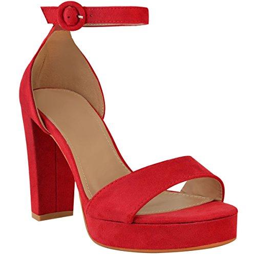 Fashion Thirsty heelberry Mujer Tacón EN Bloque Alto Tira EN Tobillo Sexy Sandalias Peep-Toe Plataformas Talla Rojo Ante Artificial