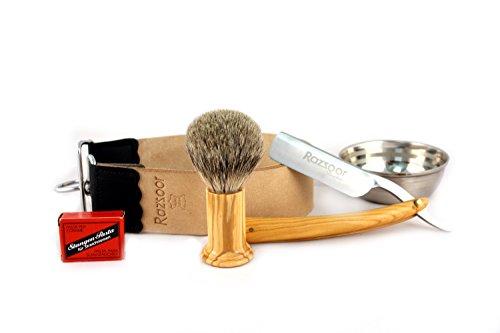 RAZZOOR 5-piece razor set olive wood exclusive razor set with stainless steel blade - strop made of genuine buffalo leather, strop belt paste from Solingen, shaving brush Silberspitz badger hair