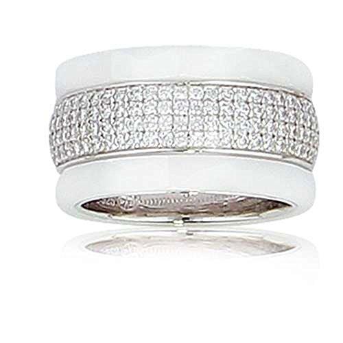 SF Bijoux - Bague argent 925/1000e OZ céramique blanche (7 g) - (601618)