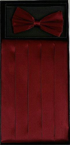 Men's Burgundy SILK Cumberbund & BowTieCummerbund & Bow Tie Set (Burgundy Set Cummerbund)