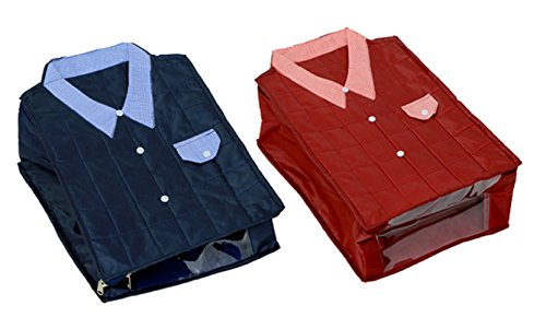 Kuber Industries™ Large Size Shirt Cover Set of 2 Pcs (Soft Cotton Parachute Material) Blue & Maro