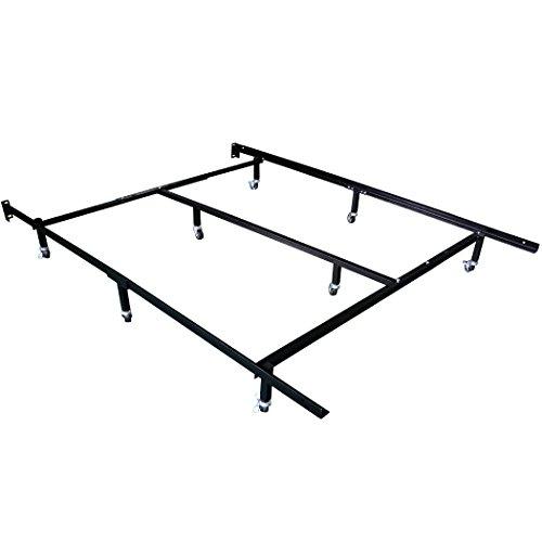HLC Adjustable 8-Wheel Metal Bed Frame with 4 Locking wheels
