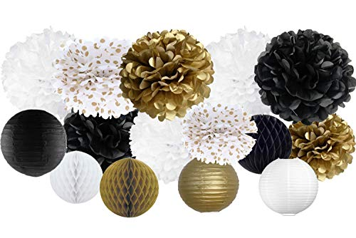 VIDAL CRAFTS 30 Pcs Tissue Paper Pom Poms Kit (14 inch, 10 inch, 8 inch, 6 inch), Paper Flowers, Paper Lanterns and Honeycomb Balls, New Years Eve Decorations - black, white, gold, polka dot]()