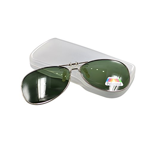 Aviator Polarized Uv Clip on Flip up Dark Green Lens Sunglasses with - Aviator Clip On Sunglasses