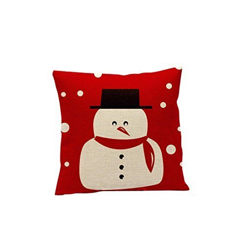 MukeR Creative Decoration Christmas Pillow Cover Snowman Santa Claus Snowflake Deer Moustache Button With Red Background 18 X Without Inner Core