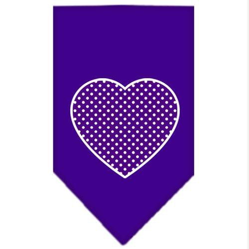 Mirage Pet Products Purple Swiss Dot Heart Screen Print Bandana for Pets, Large, Purple by Mirage Pet Products