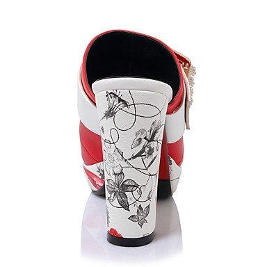 LvYuan Mujer-Tacón Robusto-Zapatos del club-Sandalias-Boda Vestido Fiesta y Noche-Semicuero-Negro Rojo Blanco Black