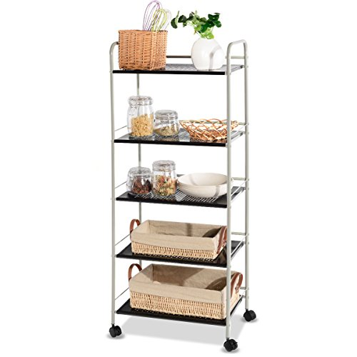 (Giantex Steel Utility Cart Storage Shelf Rack Mobile Casters Metal Mesh Commercial Kitchen Warehouse Garage Bathroom Capacity Shelving Shelves Organizer W/Lockable Rolling Wheels (19.5