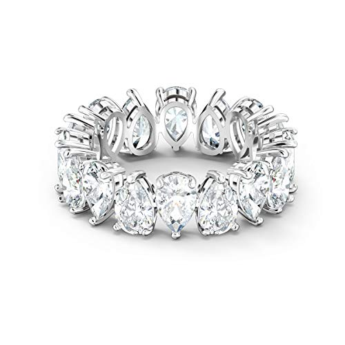 SWAROVSKI Women's Vittore Pear Shaped & Round Shaped Sparkling Crystal Ring Collections