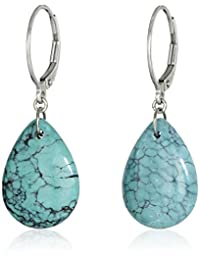 Sterling Silver Pear Genuine Stabilized Turquoise Leverback Drop Earrings