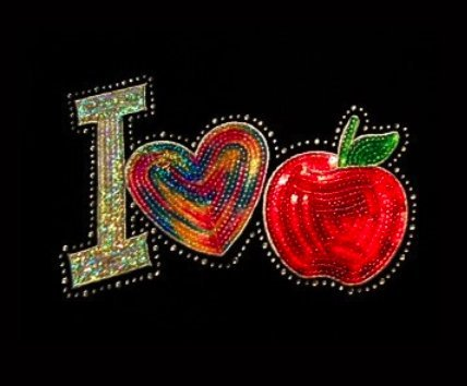 It's all about... I Heart (Love) Teaching (Apple) - Rhinestone and Sequin Iron on Transfer