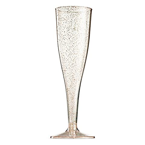 100 Pack Gold Glitter Plastic Champagne Flutes 5 Oz Clear Plastic Toasting Glasses Disposable Wedding Party Cocktail…