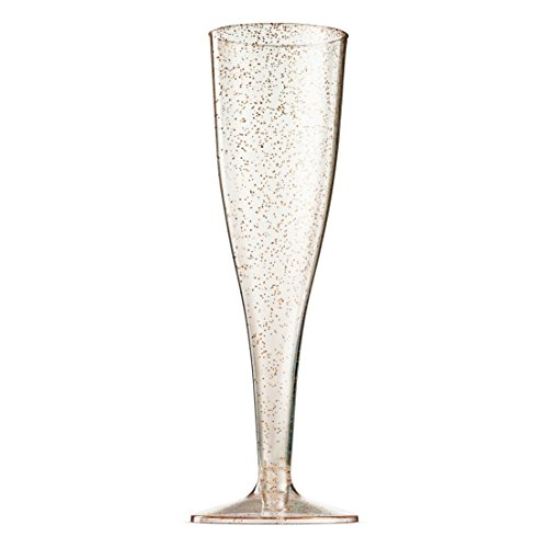 100 Pack Gold Glitter Plastic Champagne Flutes ~ 5 Oz Clear Plastic Toasting Glasses ~ Disposable Wedding Party Cocktail Cups by Munfix (Image #1)