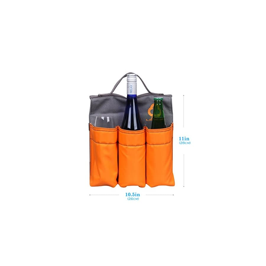 Bike Beer Bottle Holder Bag,LANMU Saddlebag Organizer 6 Bottles Holders with Handle,Six Slot Saddle Bag for Bike,Grocery,Camping,Beach,Picnic