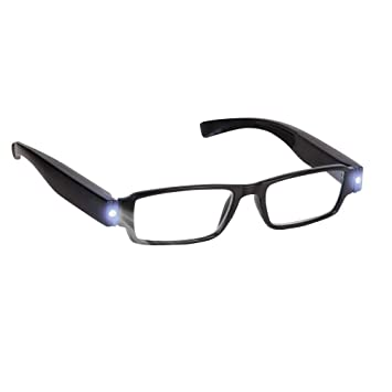 00a8fb509ba Bright LED Readers with Lights Reading Glasses Lighted Magnifier Nighttime  Reader Compact Full Frame Eyewear Clear