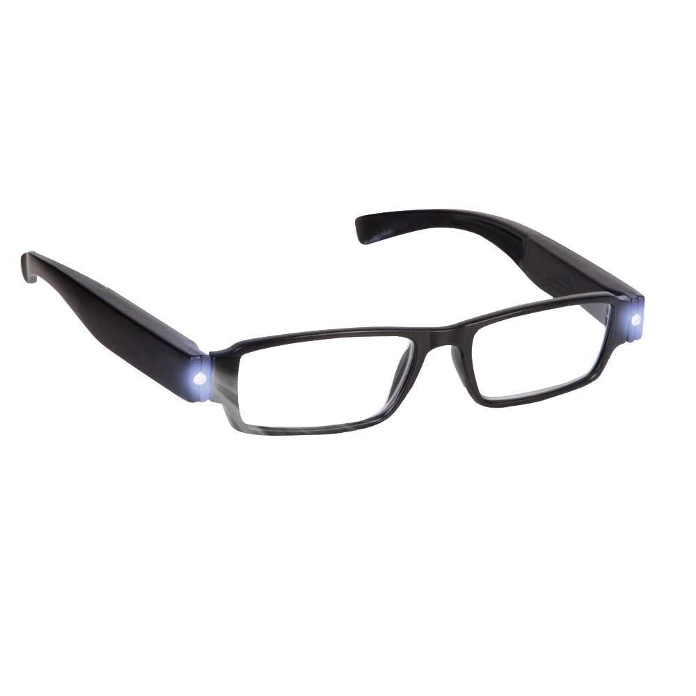 7814de80c76c Bright LED Readers with Lights Reading Glasses Lighted Magnifier Nighttime  Reader Compact Full Frame Eyewear Clear