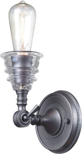 - Elk 66820-1 5 by 8-Inch Insulator Glass 1-Light Wall Sconce, Weathered Zinc Finish