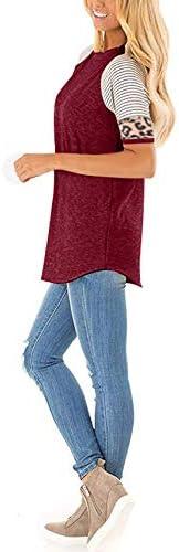 WOCACHI Womens Leopard Patchwork Stripe T-Shirt Sale Long Sleeve Blouses Crewneck Color Block Teen Girls Elegant Tunic Tops 2020 Spring Fall Fashion Clothes Ladies Under 10 Dollars Shirts Sweatshirt