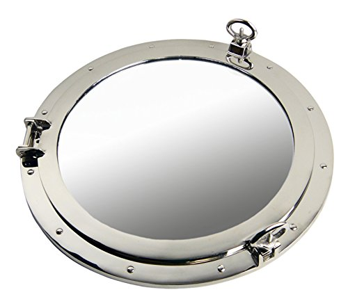 Nautical Tropical Imports Porthole Mirror Nickel Finish Over Solid Brass Wall Mount - Bathroom Cabinet Porthole Mirrors