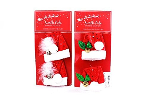 Pack Of 2 x Christmas Mini Santa Hat Hair Clips Festive Fancy Dress Party Accessory