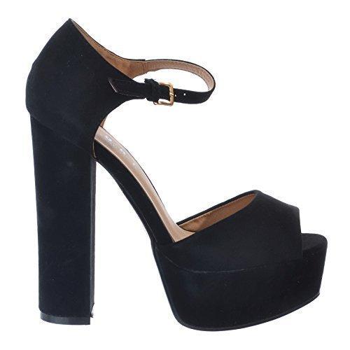 NEW diseño de Leigh Ann Tennant ajustados para mujer con plataforma para colgar bloque de zapatos de ovillo de tacones de y pedrería para mujer [sintética de color negro tamaño de la funda de 3] ante negro / Hebilla Dorada