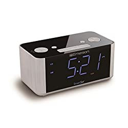 Emerson SmartSet Alarm Clock Radio with USB Charger for iPhone and Android, and Blue LED Display - CKS1708 (Certified Refurbished)