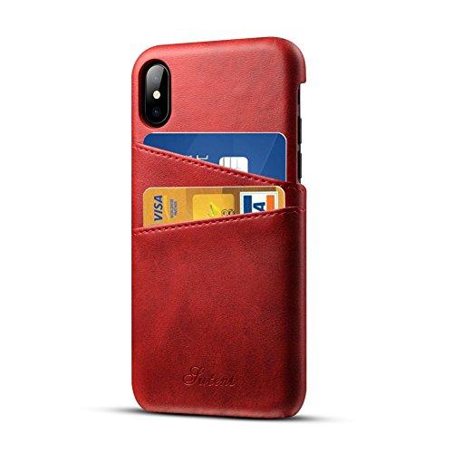 Funda iPhone 7, Airart Wallet Case de Cuero Suave Clásico de la Prima, Contraportada Pro Ultra Delgado con 2 Ranuras para Tarjetas de Crédito ID Sostenedor para el iPhone 7 4,7, Negro Rojo