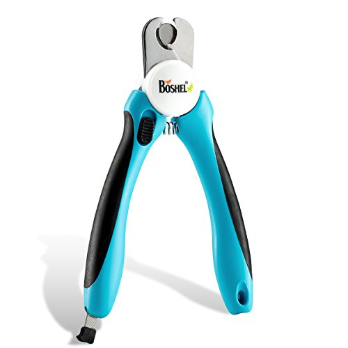 BOSHEL Dog Nail Clippers and Trimmer with Safety Guard to Avoid Over-Cutting Nails & Free Nail File - Razor Sharp Blades - Sturdy Non Slip Handles - for Safe, Professional at Home Grooming -