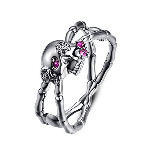 Narica Women's 925 Sterling Silver Filled Round Cut Ruby Spinel Rings for Girls Teens Size 6 ()